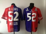 Nike Ravens & 49ers #52 Ray Lewis & Patrick Willis Purple Red Super Bowl XLVII Men\'s Stitched NFL Mixture Elite Jersey