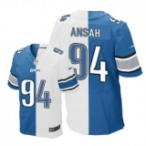 Nike Lions #94 Ziggy Ansah Blue White Men\'s Stitched NFL Elite Split Jersey