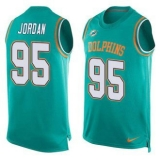 Nike Miami Dolphins #95 Dion Jordan Aqua Green Team Color Men\'s Stitched NFL Limited Tank Top Jersey