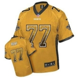 Nike Saints #77 Willie Roaf Gold Men\'s Stitched NFL Elite Drift Fashion Jersey