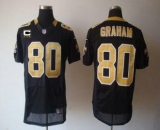 Nike Saints #80 Jimmy Graham Black Team Color With C Patch Men\'s Stitched NFL Elite Jersey