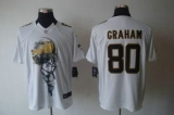 Nike Saints #80 Jimmy Graham White Men\'s Stitched NFL Helmet Tri-Blend Limited Jersey