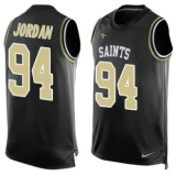 Nike Saints #94 Cameron Jordan Black Team Color Men\'s Stitched NFL Limited Tank Top Jersey