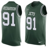 Nike New York Jets #91 Sheldon Richardson Green Team Color Men\'s Stitched NFL Limited Tank Top Jersey