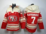 San Francisco 49ers #7 Colin Kaepernick Red Sawyer Hooded Sweatshirt Stitched Jersey
