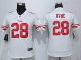 Women Nike 49ers #28 Carlos Hyde White Stitched NFL Limited Jersey