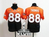 NEW Broncos #88 Demaryius Thomas Orange-Navy Blue Super Bowl XLVIII NFL Elite Fadeaway Fashion Jerseys