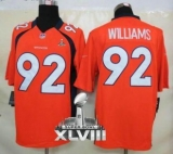 NEW Broncos #92 Sylvester Williams Orange Team Color Super Bowl XLVIII NFL Limited Jerseys