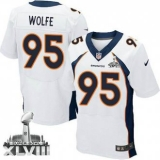 NEW Broncos #95 Derek Wolfe White Super Bowl XLVIII NFL Jerseys