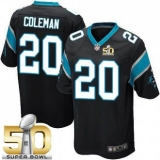 Youth Nike Panthers #20 Kurt Coleman Black Team Color Super Bowl 50 Youth Stitched NFL Elite Jersey
