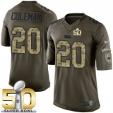 Youth Nike Panthers #20 Kurt Coleman Green Super Bowl 50 Stitched NFL Limited Salute to Service Jersey