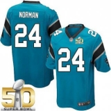 Youth Nike Panthers #24 Josh Norman Blue Alternate Super Bowl 50 Stitched NFL Elite Jersey
