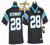 Youth Nike Panthers #28 Jonathan Stewart Black Team Color Super Bowl 50 Stitched NFL Elite Jersey