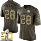 Youth Nike Panthers #28 Jonathan Stewart Green Super Bowl 50 Stitched NFL Limited Salute to Service Jersey