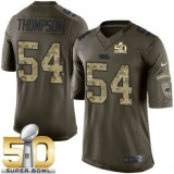Youth Nike Panthers #54 Shaq Thompson Green Super Bowl 50 Stitched NFL Limited Salute to Service Jersey