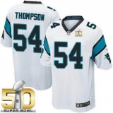 Youth Nike Panthers #54 Shaq Thompson White Super Bowl 50 Stitched NFL Elite Jersey