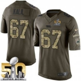 Youth Nike Panthers #67 Ryan Kalil Green Super Bowl 50 Stitched NFL Limited Salute to Service Jersey