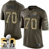 Youth Nike Panthers #70 Trai Turner Green Super Bowl 50 Stitched NFL Limited Salute to Service Jersey