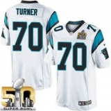 Youth Nike Panthers #70 Trai Turner White Super Bowl 50 Stitched NFL Elite Jersey
