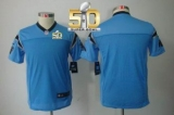 Youth Nike Panthers Blank Blue Alternate Super Bowl 50 Stitched NFL Limited Jersey