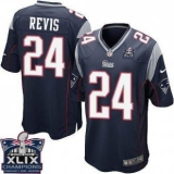 Youth Nike Patriots #24 Darrelle Revis Navy Blue Team Color Super Bowl XLIX Champions Patch NFL Elite Jersey