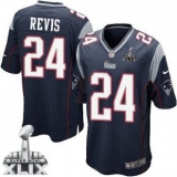 Youth Nike Patriots #24 Darrelle Revis Navy Blue Team Color Super Bowl XLIX Stitched NFL Elite Jersey