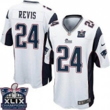 Youth Nike Patriots #24 Darrelle Revis White Super Bowl XLIX Champions Patch NFL Elite Jersey