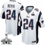 Youth Nike Patriots #24 Darrelle Revis White Super Bowl XLIX Stitched NFL Elite Jersey