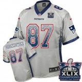 Youth Nike Patriots #87 Rob Gronkowski Grey Super Bowl XLIX Champions Patch NFL Elite Drift Fashion Jersey