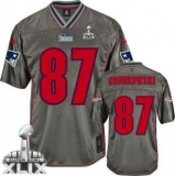 Youth Nike Patriots #87 Rob Gronkowski Grey Super Bowl XLIX Stitched NFL Elite jerseys