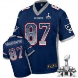 Youth Nike Patriots #87 Rob Gronkowski Navy Blue Team Color Super Bowl XLIX NFL Elite Drift Fashion Jersey