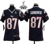 Youth Nike Patriots #87 Rob Gronkowski Navy Blue Team Color Super Bowl XLIX Stitched NFL Elite Jerseys