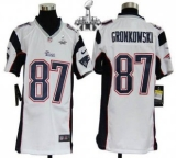 Youth Nike Patriots #87 Rob Gronkowski White Super Bowl XLIX Stitched NFL Elite Jerseys