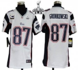 Youth Nike Patriots #87 Rob Gronkowski White With C Patch Super Bowl XLIX Stitched NFL Elite Jersey