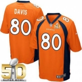 Youth Nike Broncos #80 Vernon Davis Orange Team Color Super Bowl 50 Stitched NFL New Elite Jersey