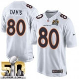 Youth Nike Broncos #80 Vernon Davis White Super Bowl 50 Stitched NFL Game Event Jersey