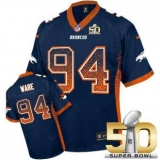 Youth Nike Broncos #94 DeMarcus Ware Blue Alternate Super Bowl 50 Stitched NFL Elite Drift Fashion Jersey