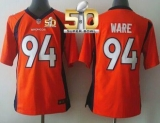Youth Nike Broncos #94 DeMarcus Ware Orange Team Color Super Bowl 50 Stitched NFL New Elite Jersey