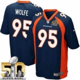 Youth Nike Broncos #95 Derek Wolfe Blue Alternate Super Bowl 50 Stitched NFL New Elite Jersey
