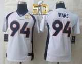 Youth Nike Broncos #94 DeMarcus Ware White Super Bowl 50 Stitched NFL New Limited Jersey