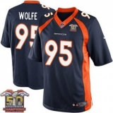Youth Nike Broncos #95 Derek Wolfe Navy Blue NFL Alternate Super Bowl 50 Champions Elite Jersey