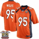 Youth Nike Broncos #95 Derek Wolfe Orange NFL Home Super Bowl 50 Champions Elite Jersey