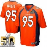 Youth Nike Broncos #95 Derek Wolfe Orange Team Color Super Bowl 50 Stitched NFL New Elite Jersey