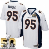 Youth Nike Broncos #95 Derek Wolfe White Super Bowl 50 Stitched NFL New Elite Jersey
