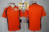 Youth Nike Broncos Blank Orange Team Color Super Bowl 50 Stitched NFL Limited Jersey