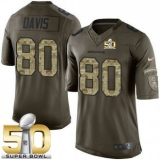 Youth Nike Denver Broncos #80 Vernon Davis Green Super Bowl 50 Stitched NFL Limited Salute to Service Jersey