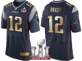 NEW ENGLAND PATRIOTS #12 TOM BRADY NAVY SUPER BOWL LI CHAMPIONS GOLD ELITE JERSEY