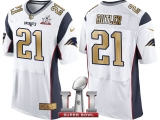 NEW ENGLAND PATRIOTS #21 MALCOLM BUTLER WHITE SUPER BOWL LI CHAMPIONS GOLD ELITE JERSEY