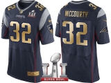 NEW ENGLAND PATRIOTS #32 DEVIN MCCOURTY NAVY SUPER BOWL LI CHAMPIONS GOLD ELITE JERSEY
