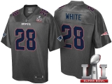 NEW ENGLAND PATRIOTS #28 JAMES WHITE GRAY SUPER BOWL LI STRONGHOLD FASHION JERSEY